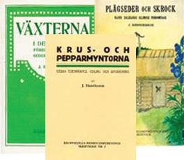 Fakismilutgåvor av tre av Henrikssons böcker.